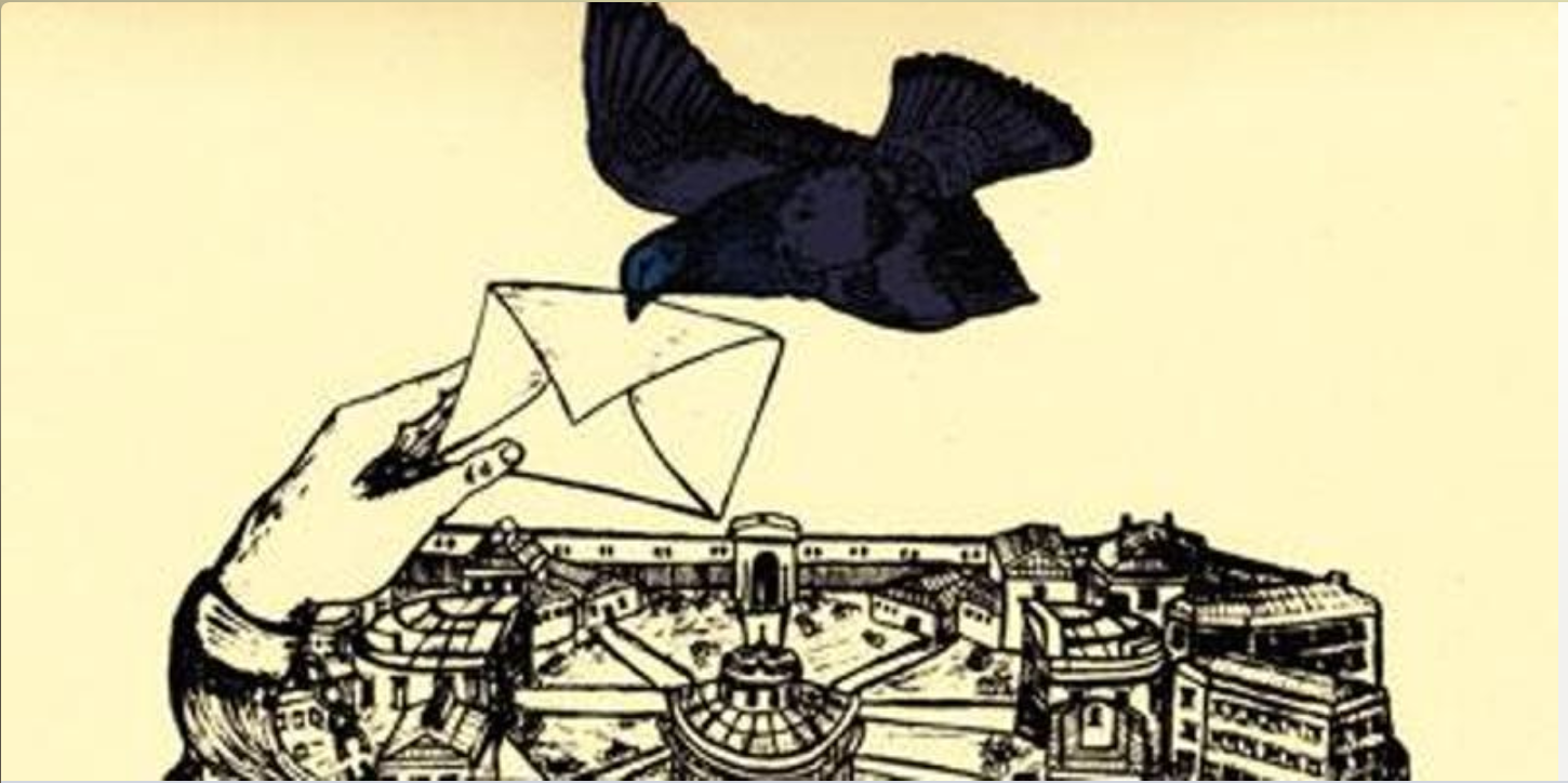 an image of a hand passing an envelope to a black bird flying above a prison, suggesting delivery of a letter to or from an incarcerated person